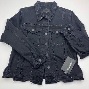Blank NYC Black Distressed Studded Denim Jacket